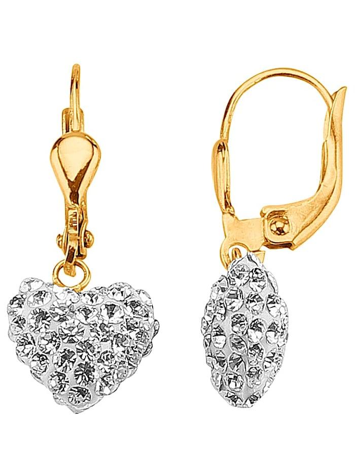 Herz-Ohrringe mit weißen Kristallen, Gelbgoldfarben