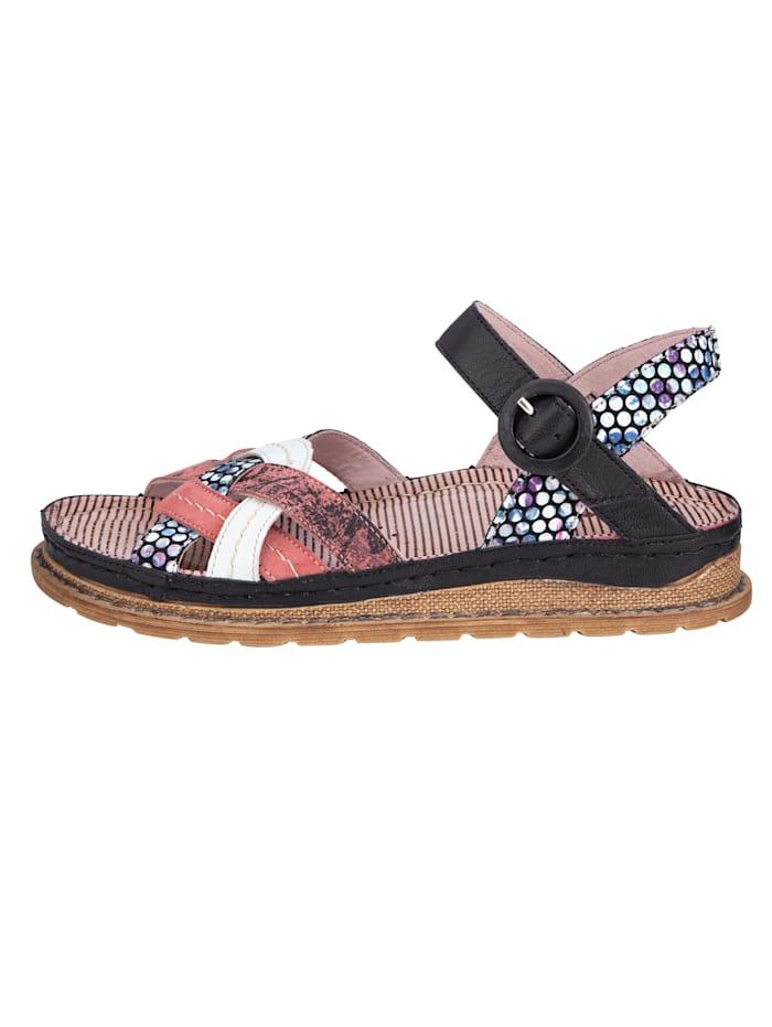 Sandaler i effektfull skinnmix
