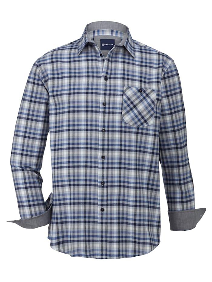 BABISTA Flanellhemd aus reiner Baumwolle, Blau/Grau