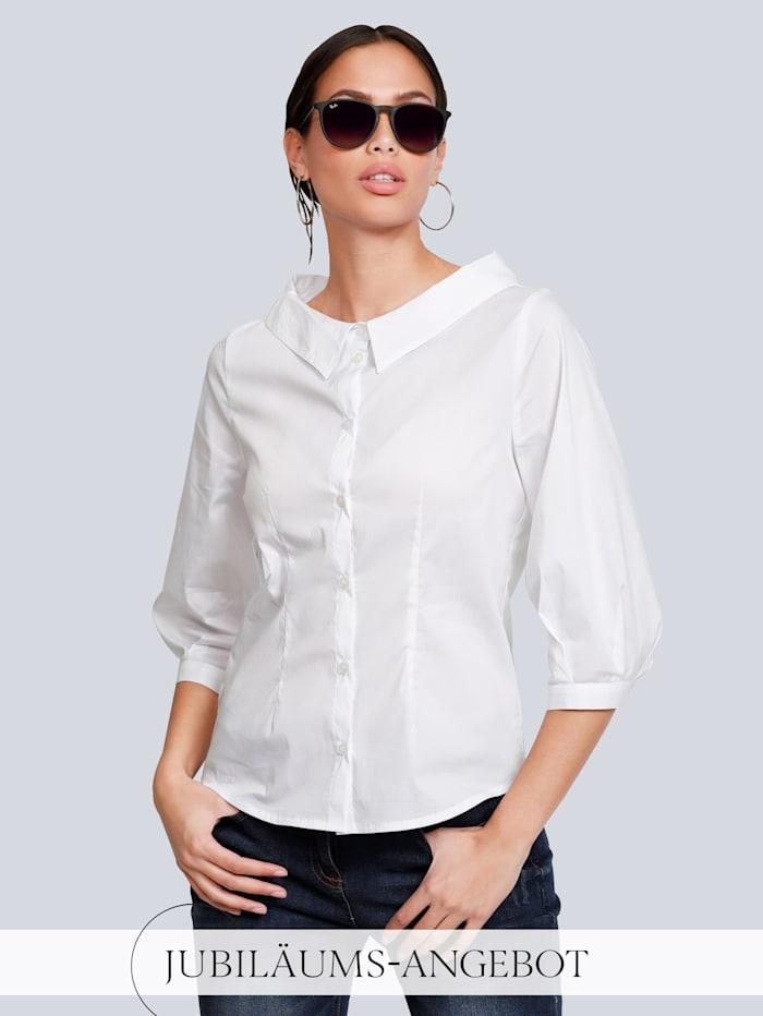 Alba Moda Bluse mit modischer Kragenlösung, Weiß