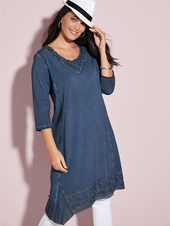MIAMODA Kleid mit funkelnden Dekosteinen, Blau