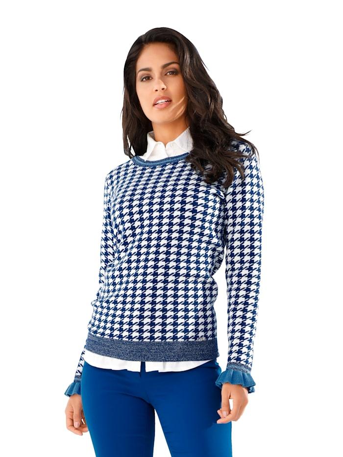 AMY VERMONT Pullover mit Jacquardmuster und Glanzgarn, Blau/Weiß/Royalblau