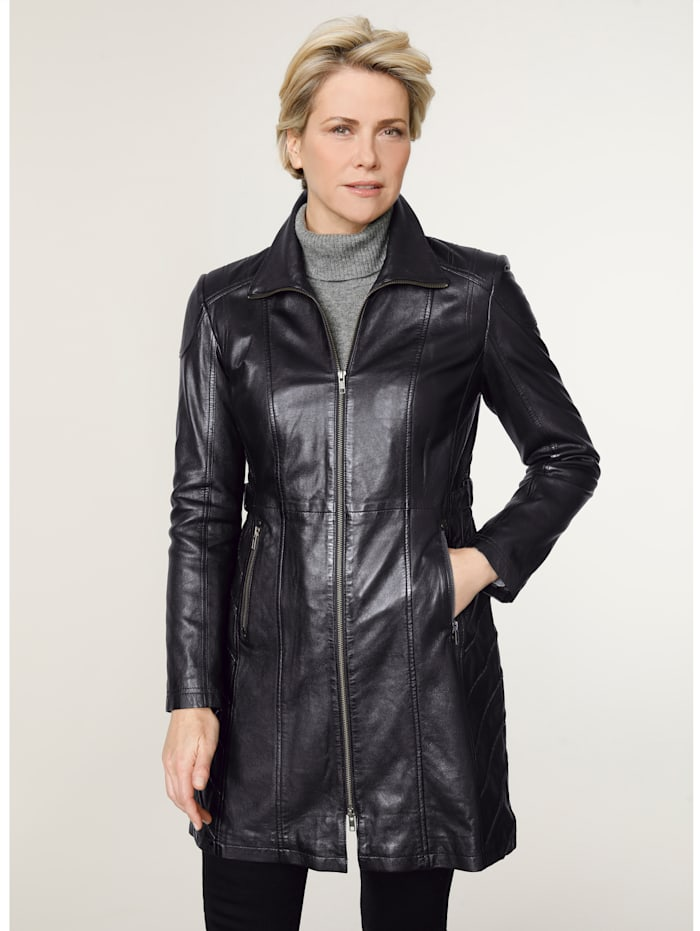 MONA Leather jacket with signature tailoring, Black