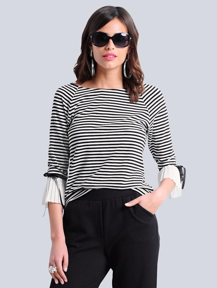 Alba Moda Shirt met streepdessin rondom, Offwhite/Zwart