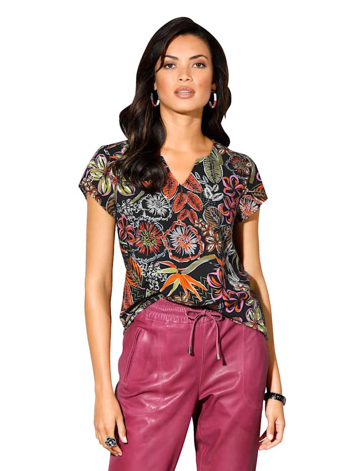 AMY VERMONT Bluse mit floralem Muster, Schwarz/Orange/Grün