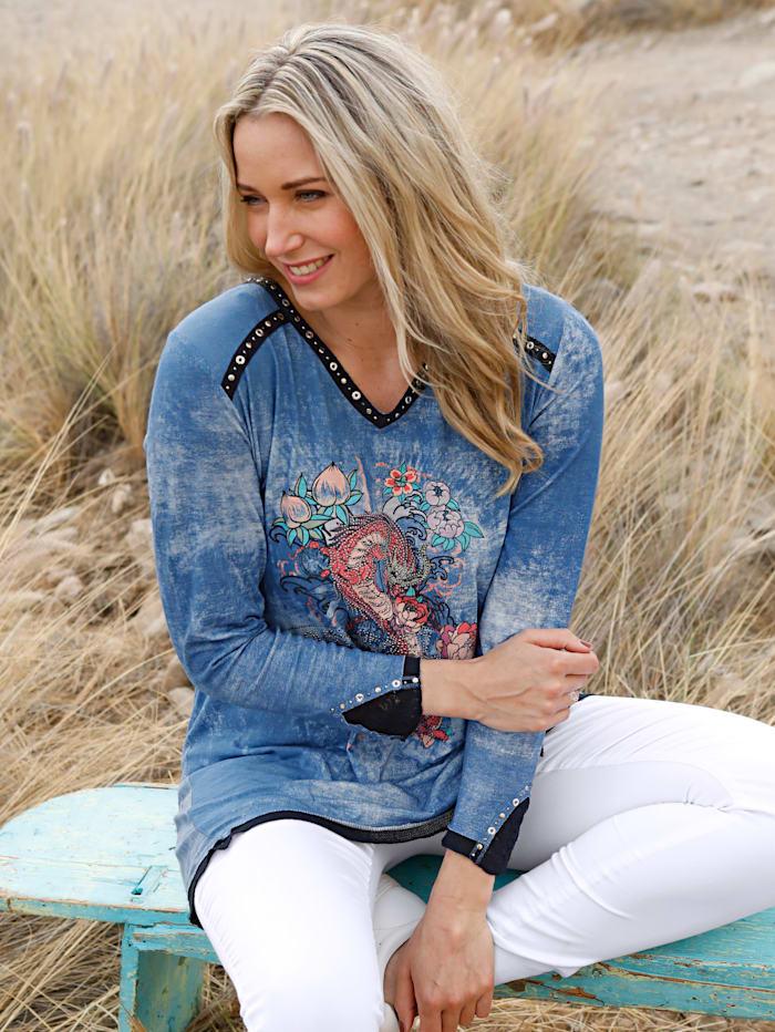 MIAMODA Shirt met print en strassteentjes, Blauw