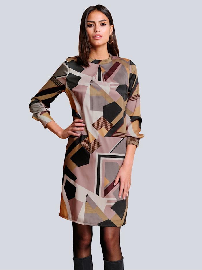 Alba Moda Kleid im ausdrucksstarken grafischen Druck, Gelb/Blau