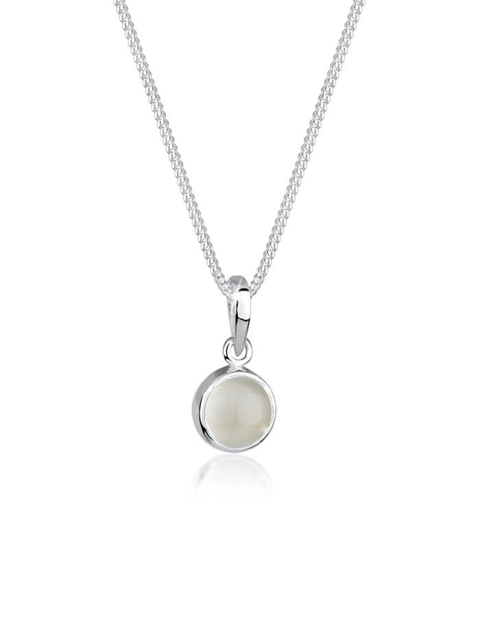 Elli Halskette Mondstein Gemstone Natur 925 Sterling Silber, Weiß