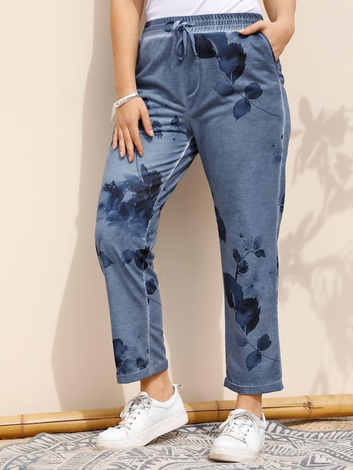 MIAMODA Sweathose mit floralem Druck, Jeansblau