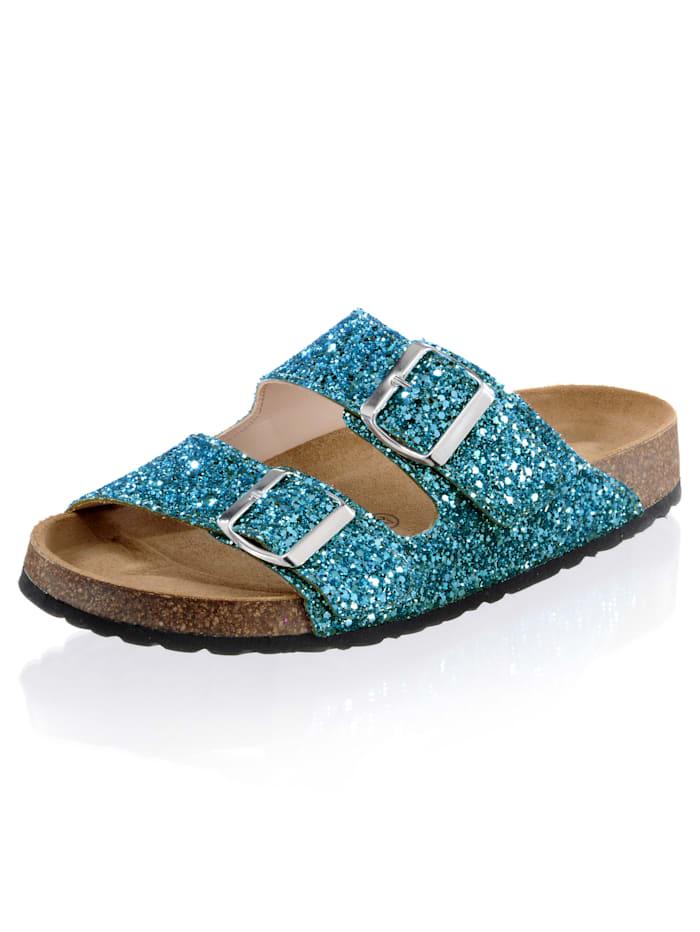 Alba Moda Pantolette im Glitter-Look, Hellblau