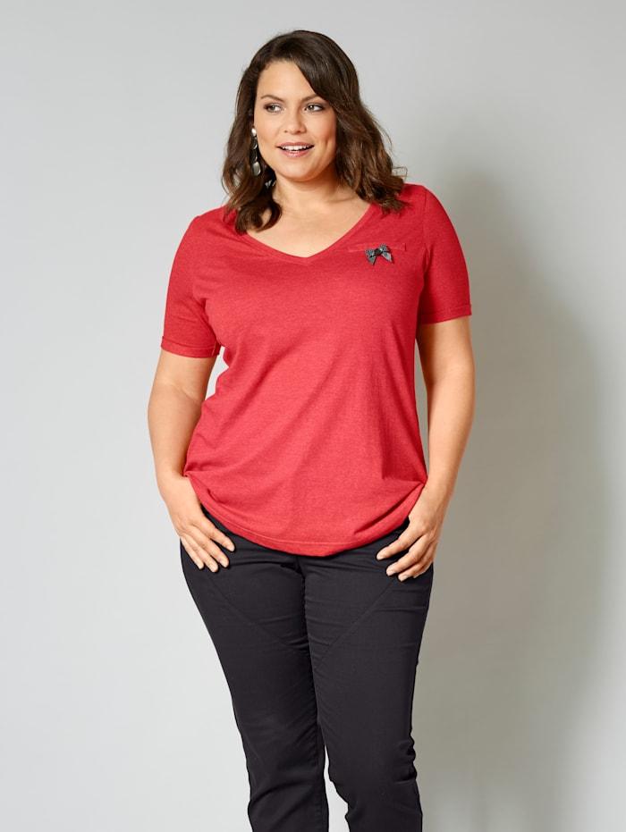 Sara Lindholm Shirt mit Zierschleife, Rot