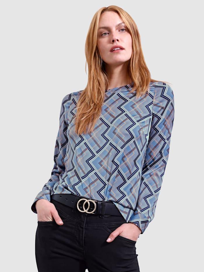 Laura Kent Blus med grafiskt mönster, Rökblå