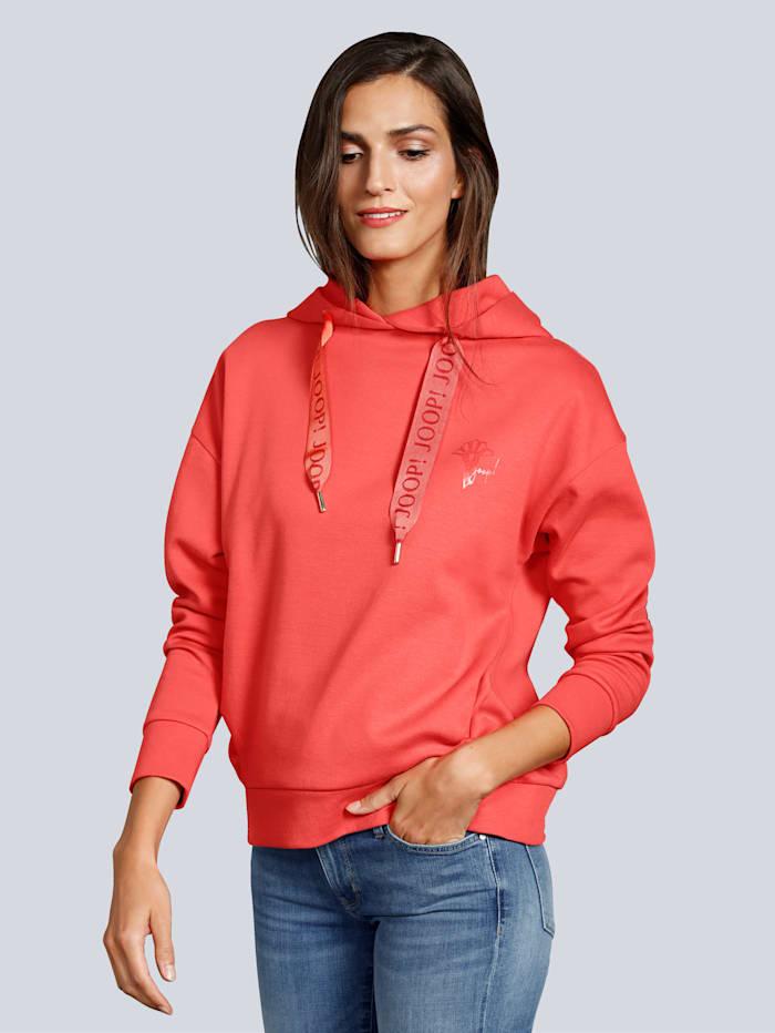 JOOP! Sweatshirt mit breiten Bändern und Logo-Schriftzug, Orange