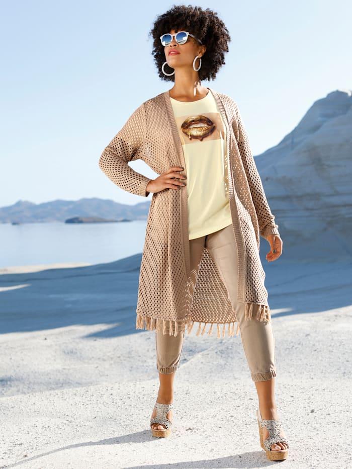 Angel of Style Longstrickjacke mit Fransen am Saum, Sand