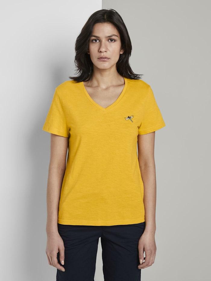 Tom Tailor T-Shirt mit V-Ausschnitt und kleinem Print, deep golden yellow