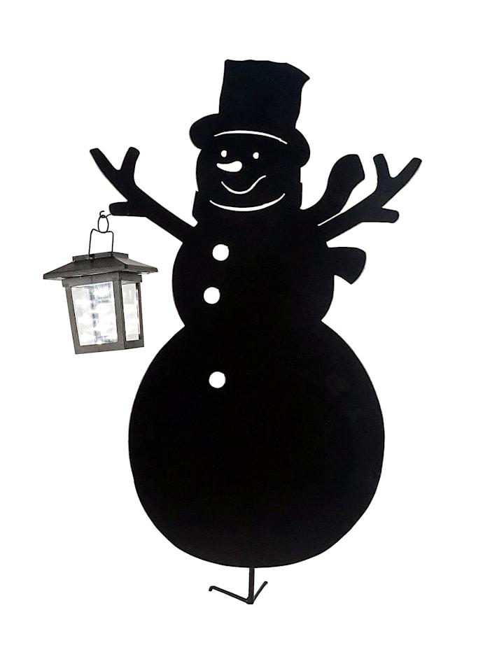 Schneemann mit Solarlaterne, schwarz