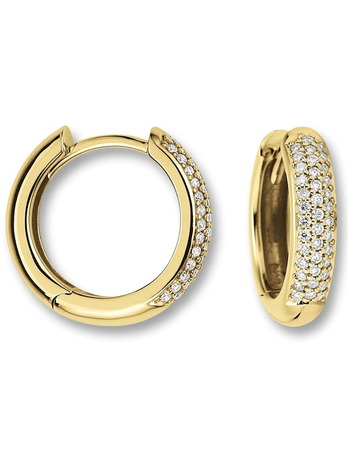One Element Damen Schmuck Orhringe / Creolen aus 585 Gelbgold mit 0,25 ct Diamant, gold