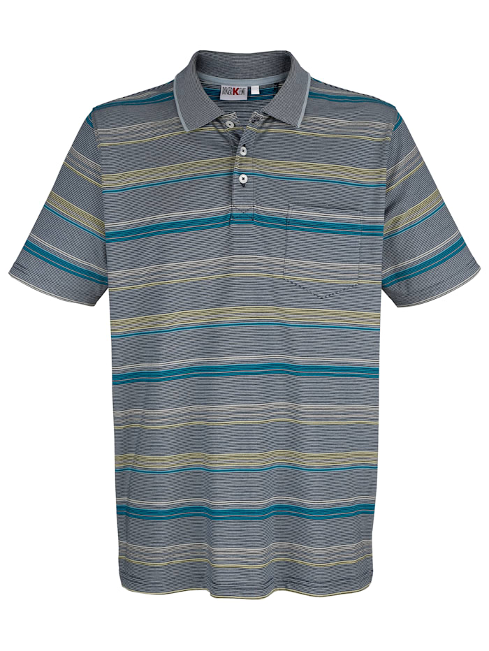Roger Kent Poloshirt mit garngefärbtem Streifenmuster, Blau/Gelb/Grün
