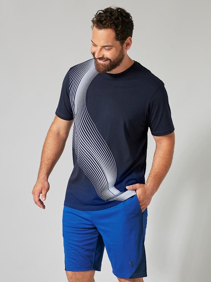 Men Plus T-shirt met contrasterende print, Marine/Wit
