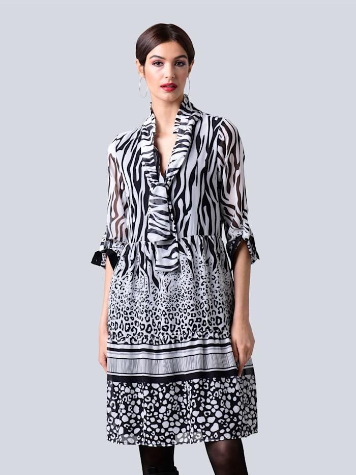 Alba Moda Kleid allover im neu designten Mustermix, Off-white/Schwarz