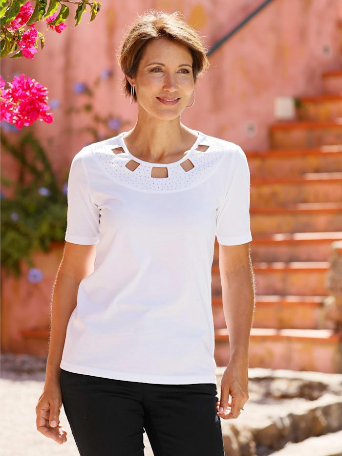 Paola Shirt mit dekorativen Ausschnitt, Weiß