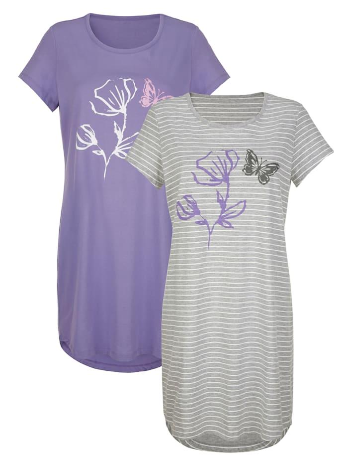 Blue Moon Nachthemden im 2er Pack mit hübschem Blumendruck, Grau/Ecru/Lila