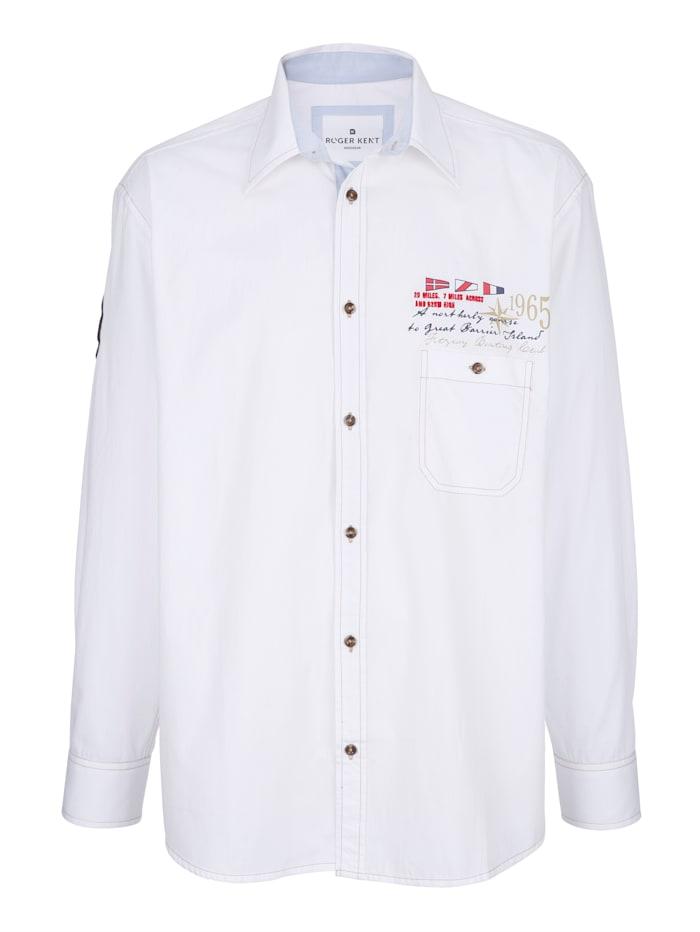 Roger Kent Hemd mit Druck und Stickerei im Vorderteil, Weiß