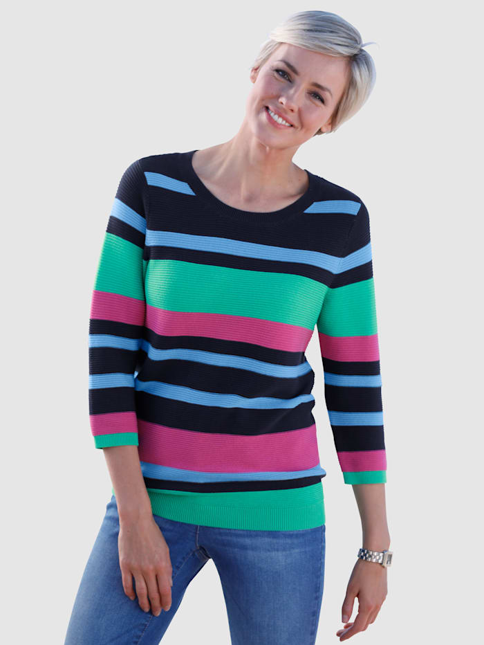 Dress In Trui met geribde structuur, Groen/Marine/Blauw