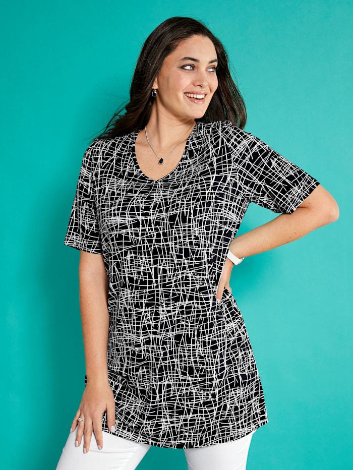 MIAMODA Longshirt mit grafischem Druck, Schwarz/Weiß