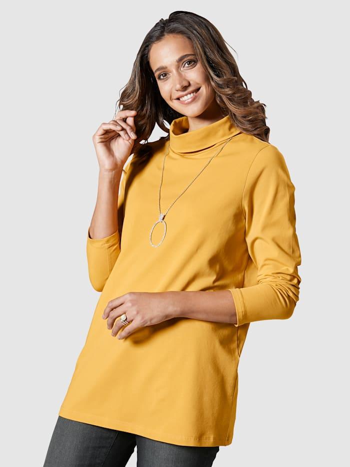 MIAMODA Shirt mit Rollkragen aus Single Jersey, Gelb