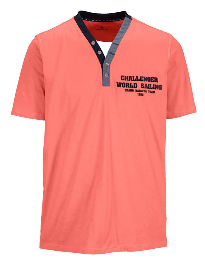 T-shirt met hippe Henley-kraag