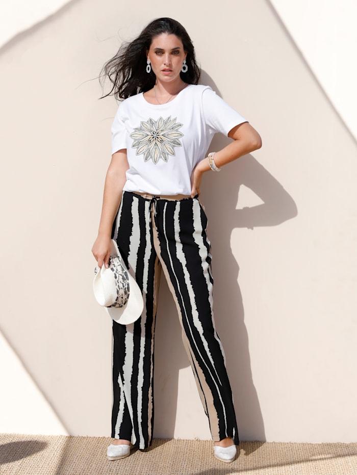 MIAMODA Pantalon dans une matière légèrement structurée, Noir/Beige/Blanc