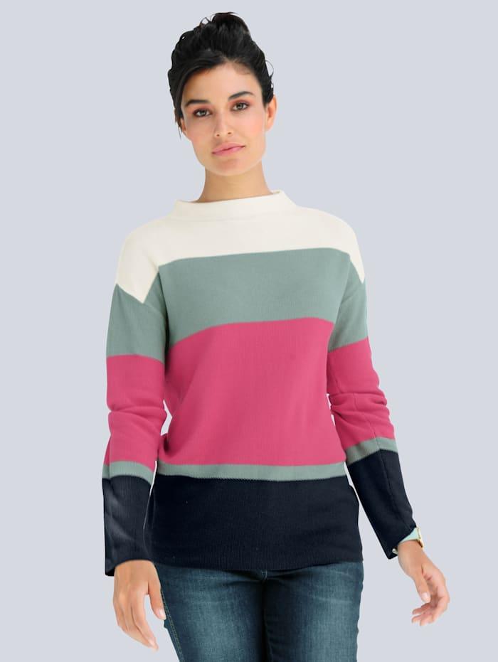 Alba Moda Pullover aus Pima Baumwolle, Off-white/Fuchsia/Salbeigrün