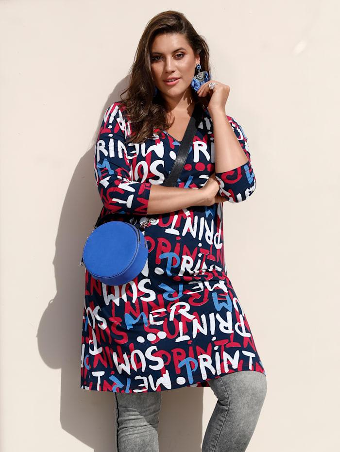 MIAMODA Longshirt mit Buchstabendruck, Blau/Rot/Weiß