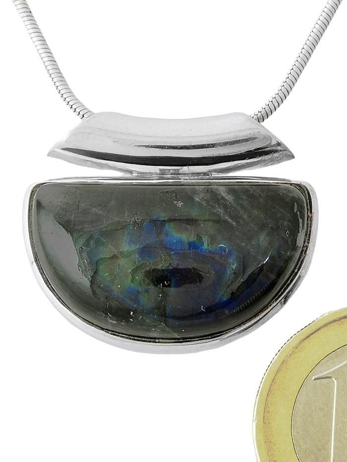 1001 Diamonds Damen Schmuck Edelstein Spektrolit Anhänger 925 Silber blau, blau