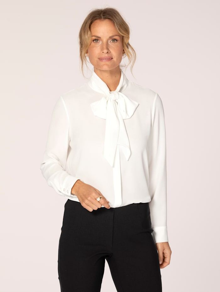 MONA Tie neck blouse in a versatile design, Ivory