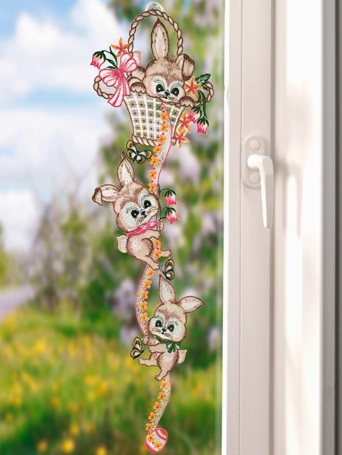 Stickereien & Textilien Fönsterdekoration med söta harar, flerfärgad