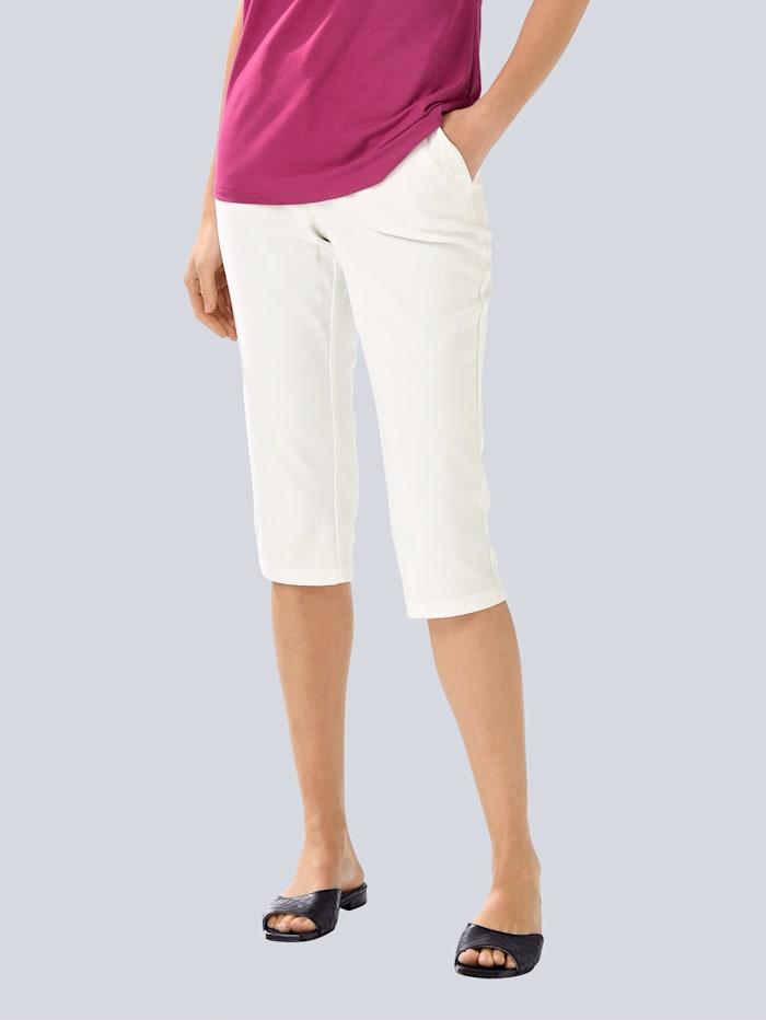 Alba Moda Caprihose mit modischem Zierstich, Weiß