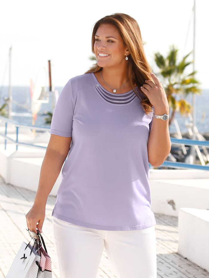 m. collection Shirt met luxueuze details langs de hals, Lila