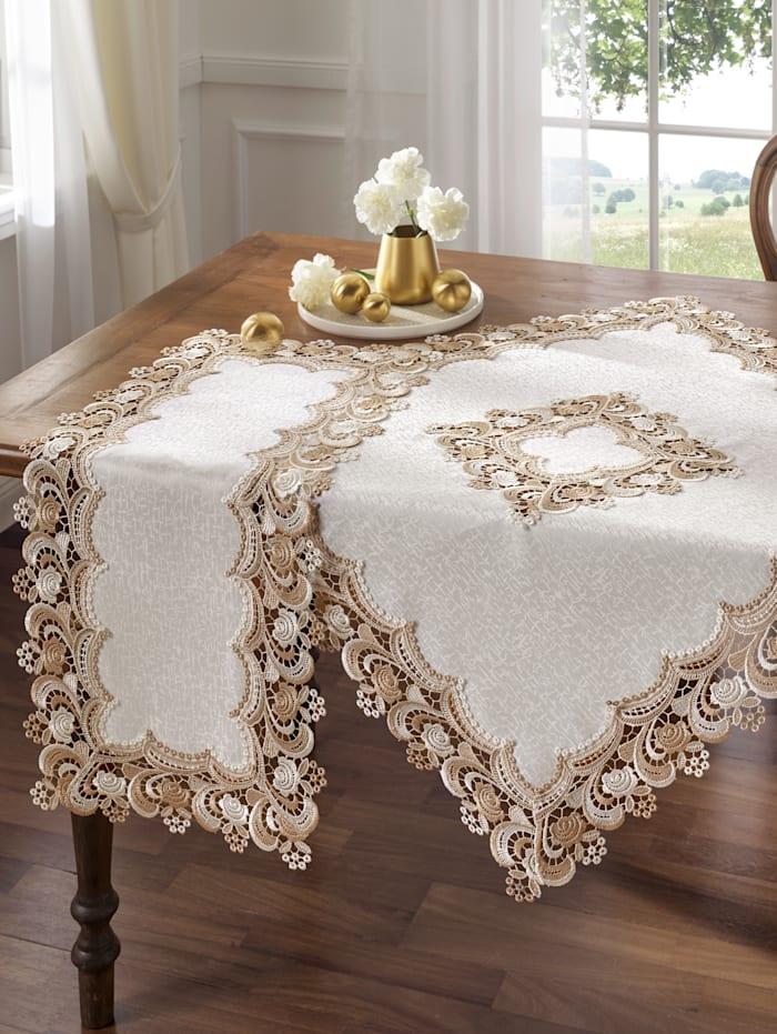 Webschatz Tischwäsche 'Serafina', sekt/beige