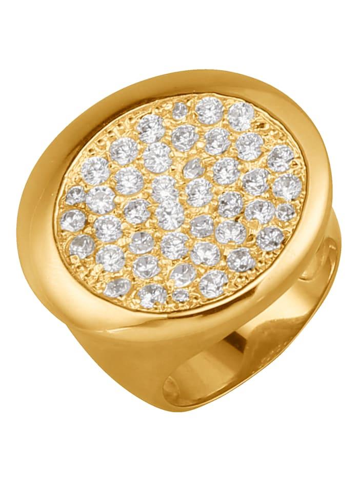Golden Style Damenring mit Kristallen, Gelb
