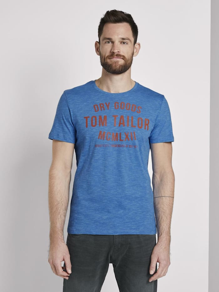 Tom Tailor Gestreiftes Jersey T-Shirt mit Print, blue fine stripe