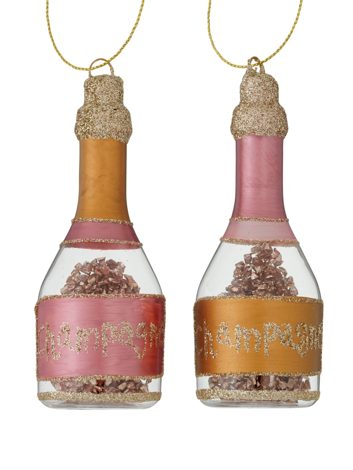 Boltze Hänger-Set, 2-tlg., Champagnerflasche, rosa, pink