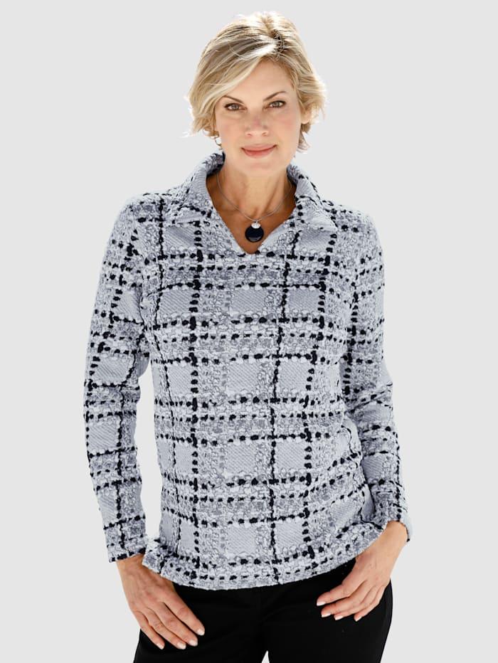 Paola Sweatshirt i jacquard, Grå/Offwhite