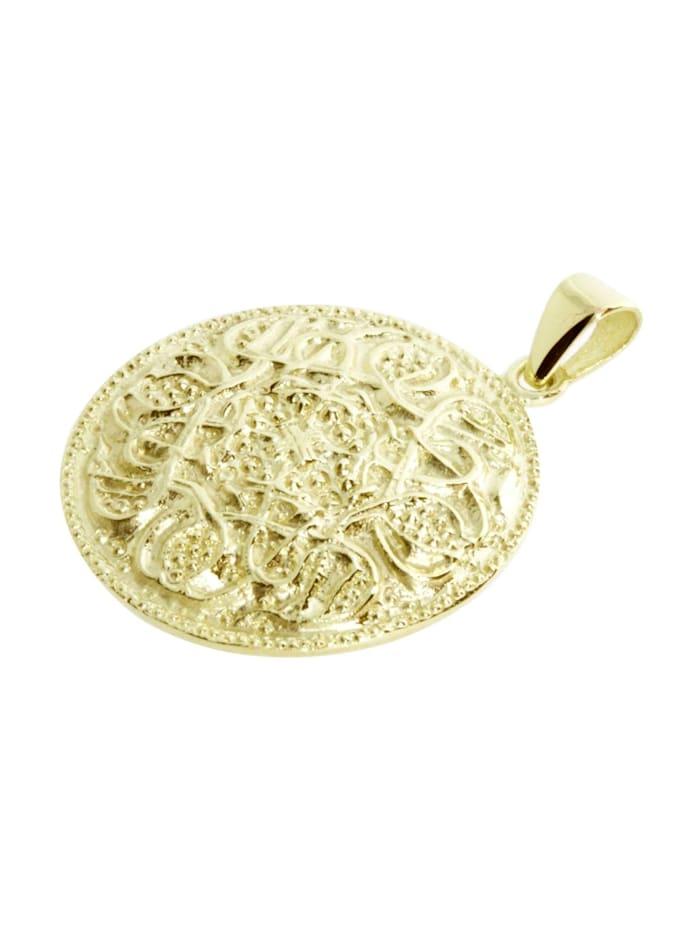 Anhänger - Hiddensee 26 mm rund - Silber 925/000, vergoldet - ,
