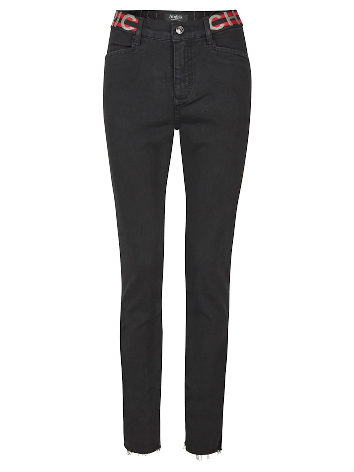 Angels Jeans 'Skinny Sporty Fringe' mit elastischem Bund, black