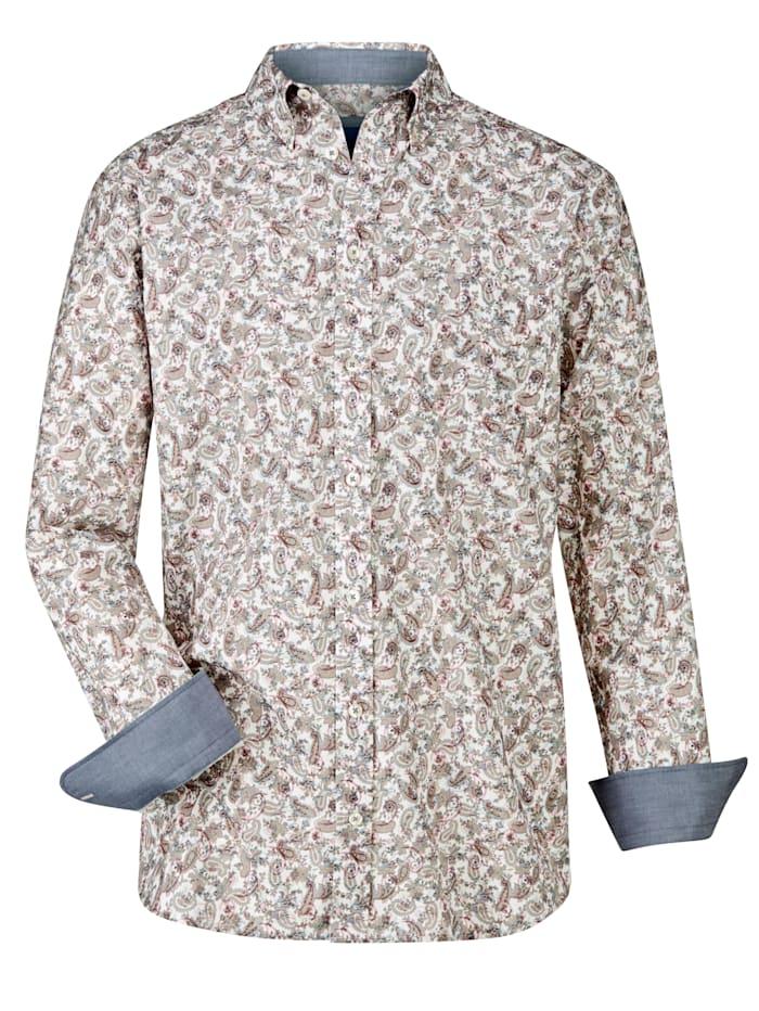 BABISTA Overhemd met modieus paisleypatroon, Wit/Grijs/Roze
