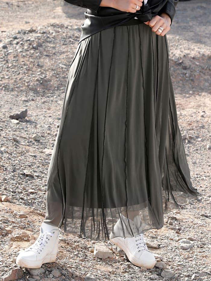 MIAMODA Jupe à coutures contrastantes, Kaki