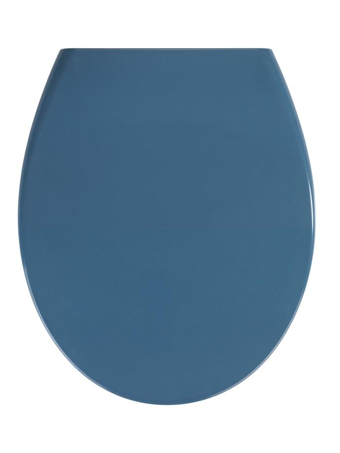 Wenko Premium WC-Sitz Samos Slate Blue, aus antibakteriellem Duroplast, mit Absenkautomatik, Blau - Dunkelblau, Befestigung: Silber matt