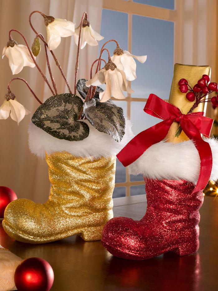 RWH 2er Set Weihnachtlicher Dekorationsstiefel, rot und gold